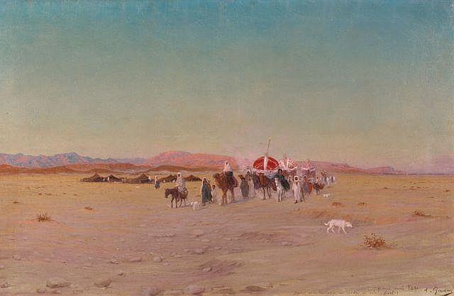 Antoine GADAN (1854 - 1934) La caravane de la mariée à Biskra Huile sur toile