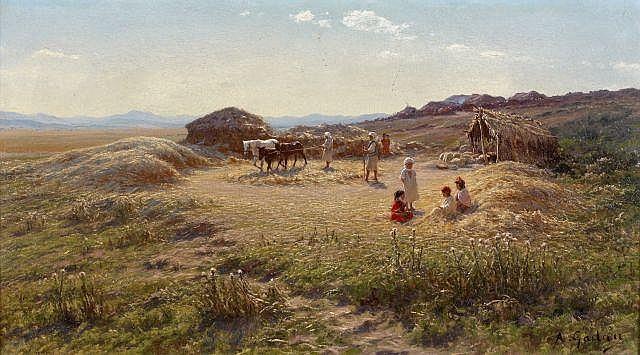 Antoine GADAN (1854 - 1934) La moisson Huile sur toile