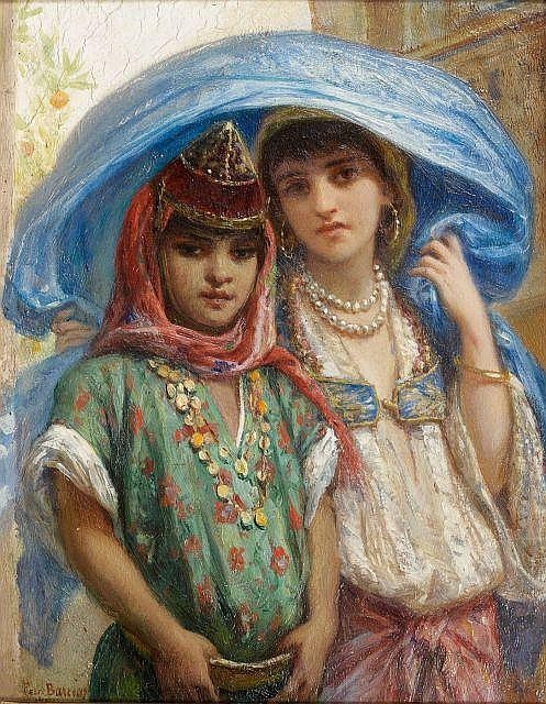 Félix BARRIAS (Paris, 1822 - Paris, 1907) Jeunes enfants Huile sur panneau