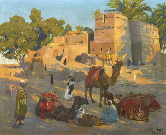 Jacques majorelle 1886 1962 coucher de soleil nokadah 1 - Peintre majorelle oeuvres ...