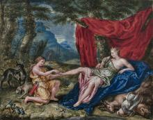 Pierre-Paul SEVIN Tournon, 1646 - 1710 Le repos de Diane après la chasse Gouache sur vélin