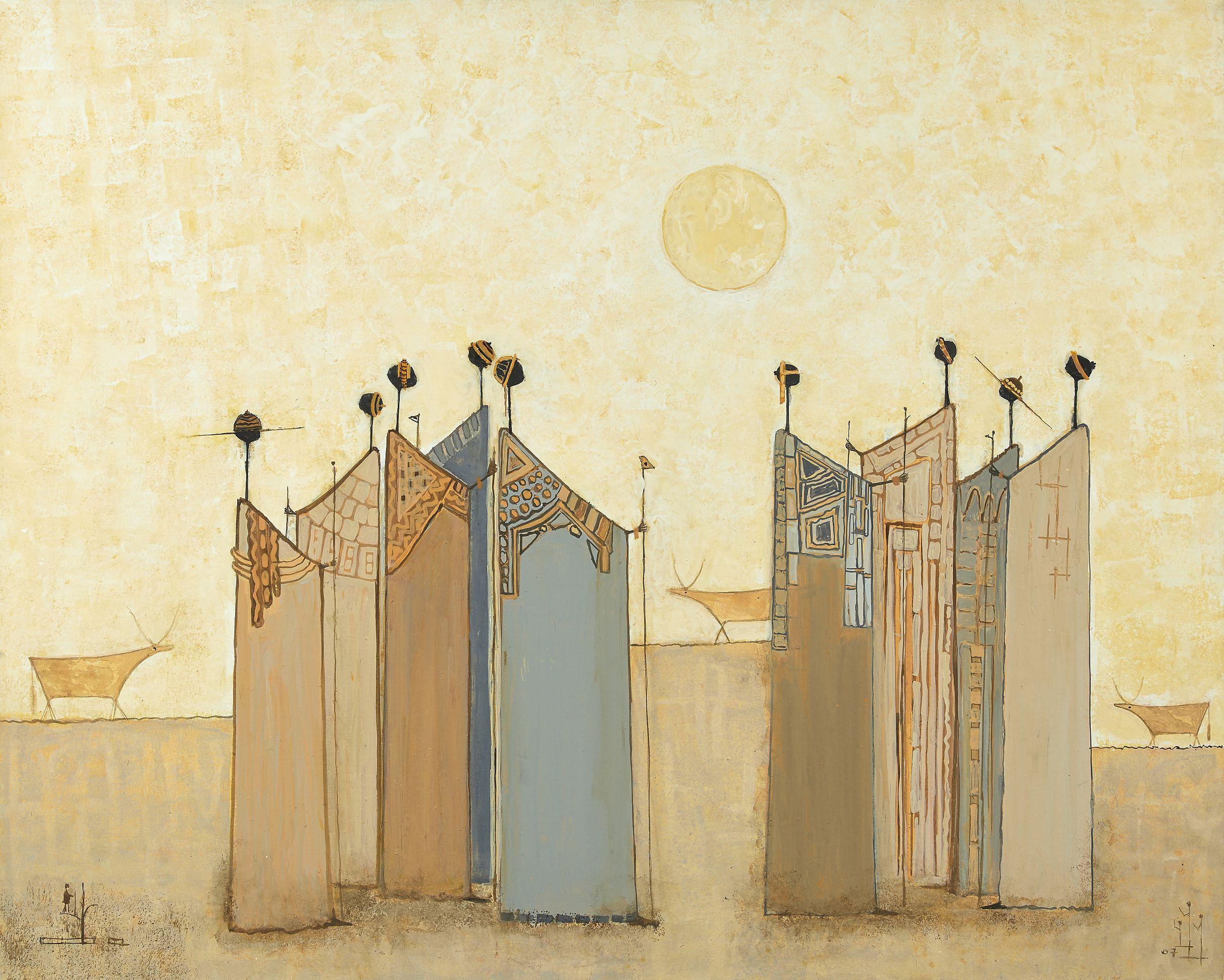 """Amadou BÂ né en 1944 - Sénégal """"Kawral"""" Rencontre, 2007 Technique mixte sur toile"""