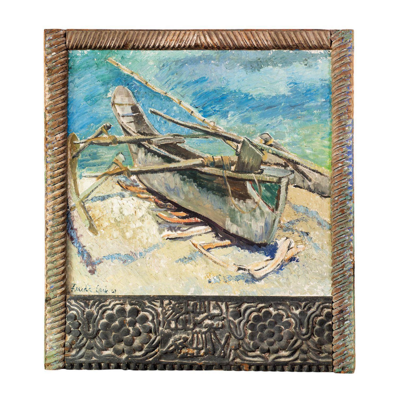 ¤ Freida LOCK 1902-1962 Afrique du Sud Ingalawa, Zanzibar, 1947 Huile sur toile avec cadre zanzibari