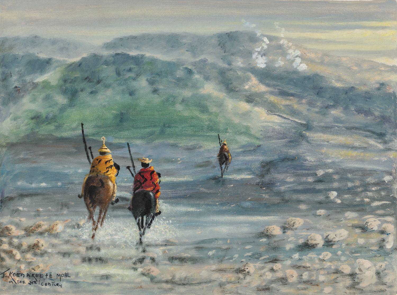 ¤ John Koenakeefe MOHL 1903-1985 - Afrique du Sud River Valley in Lesotho, XXe siècle Huile sur toile agrafée sur panneau