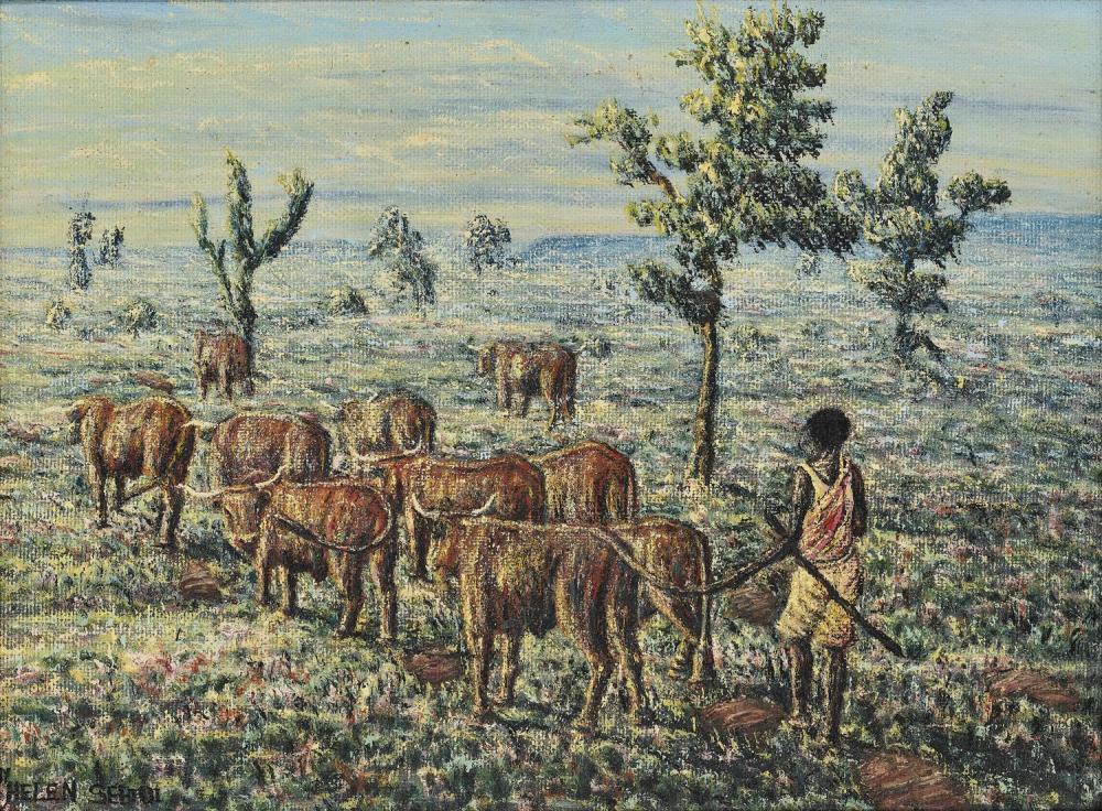 ¤ Mmakgabo Mmapula Helen SEBIDI née en 1943 - Afrique du Sud The Herdboy to the Field near Skilpadfontein N.Tvl, 1984 Huile sur pannea.
