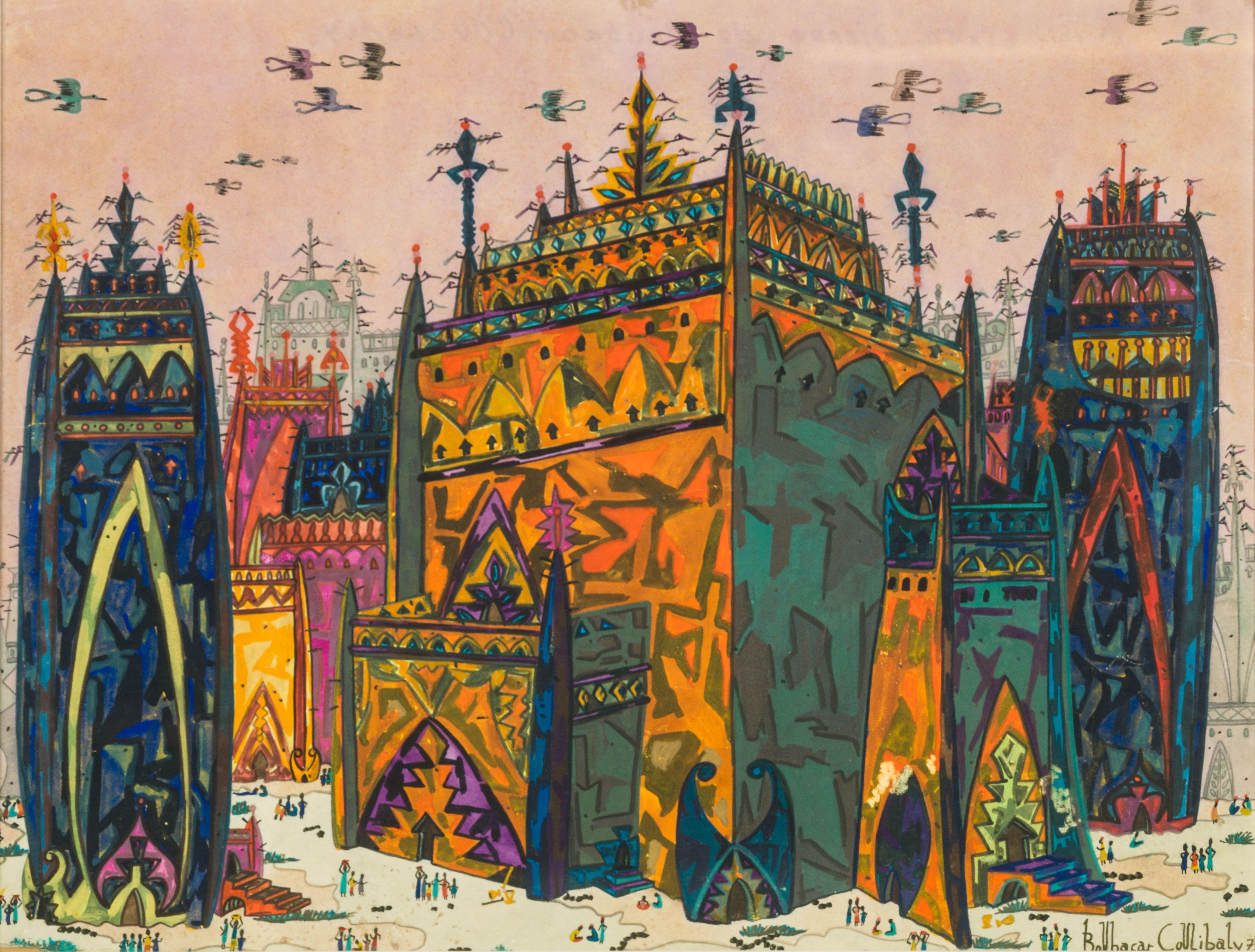 Boubacar COULIBALY 1944-1984 - Sénégal Mosquées de Tombouctou, 1973 Gouache et crayon de couleur sur papier
