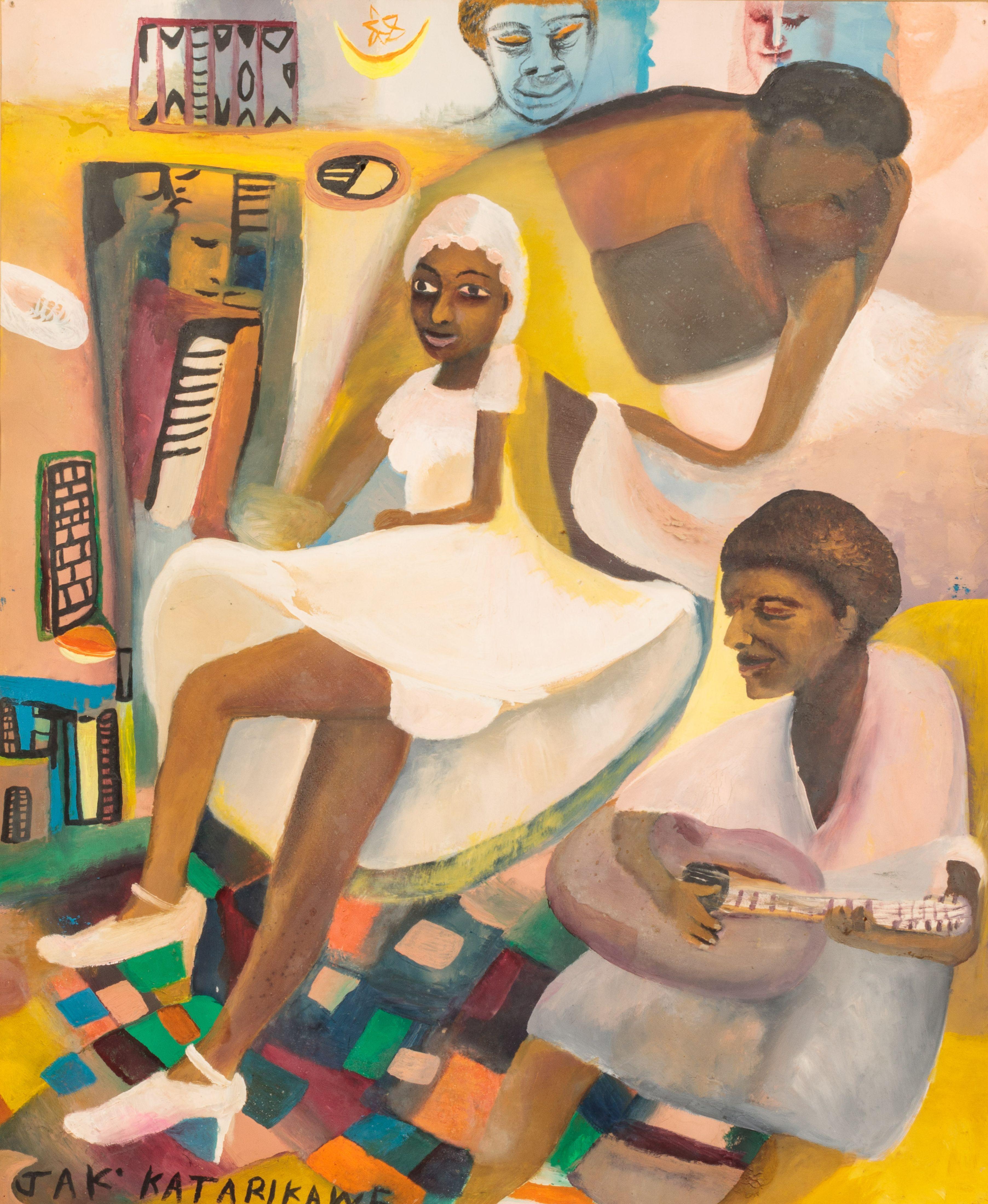 Jak KATARIKAWE né en 1938 - Ouganda Le rêve de la mariée, circa 1980 Huile sur papier