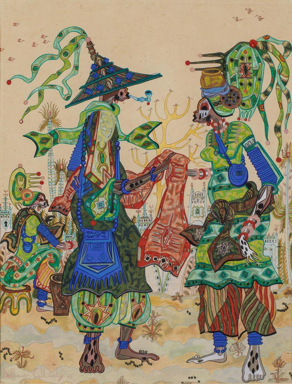 Boubacar COULIBALY 1944-1984 - Sénégal Sans titre, 1978 Technique mixte sur papier