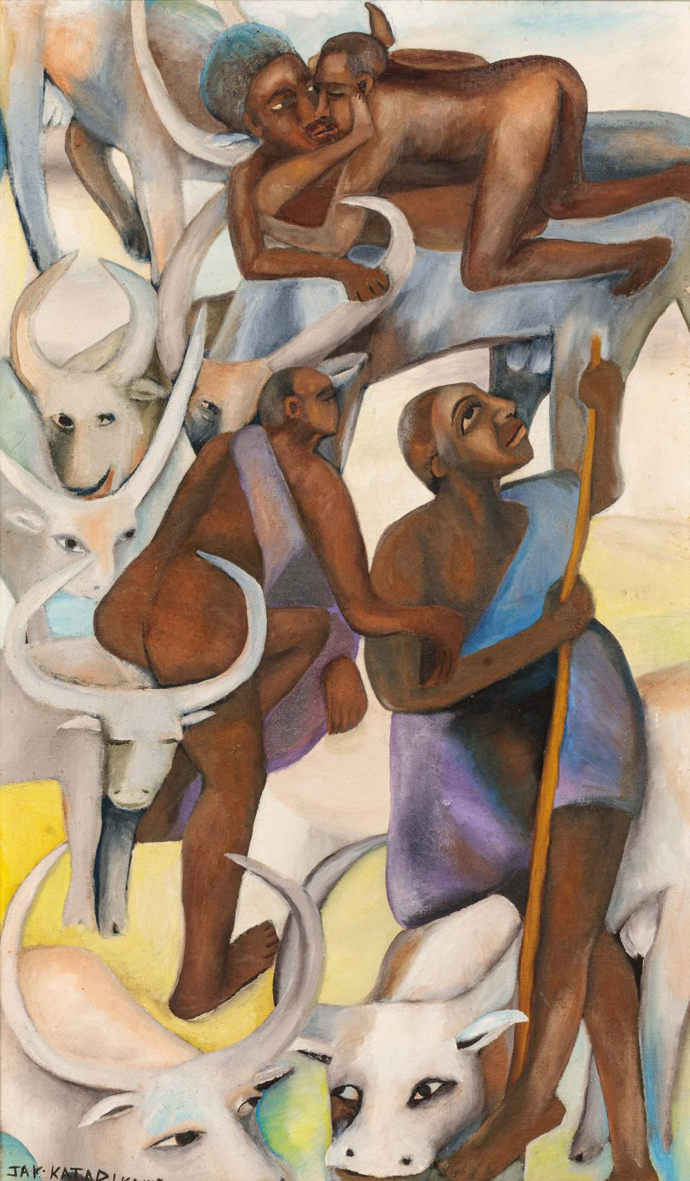 Jak KATARIKAWE né en 1938 - Ouganda Le rêve du berger, circa 1980 Huile sur Isorel