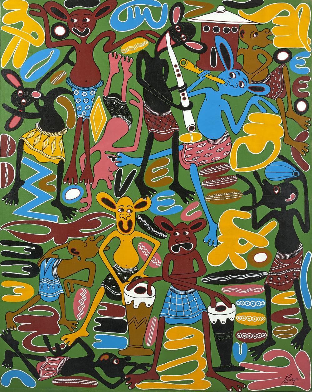 George LILANGA 1934-2005 - Tanzanie Sans titre, 2003 Acrylique sur toile
