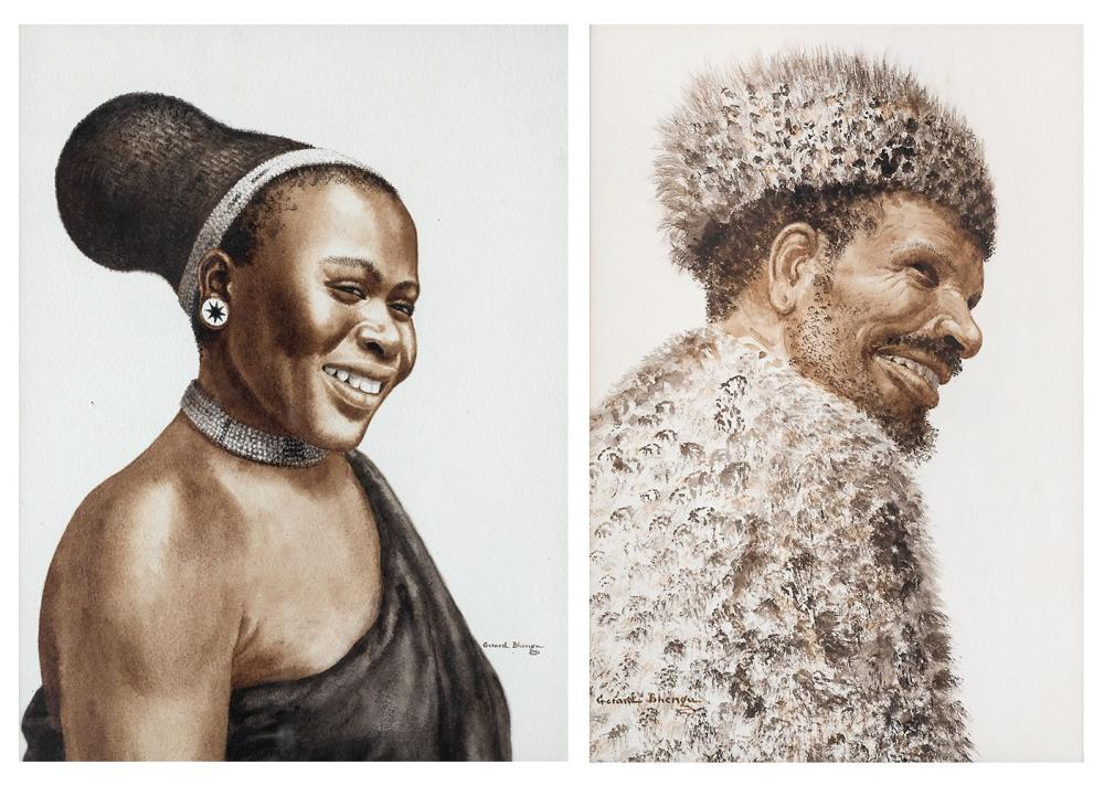 ¤ Gerard BHENGU 1910-1990 - Afrique du Sud Smiling woman, Man wearing a fur hat Deux aquarelles sur papier
