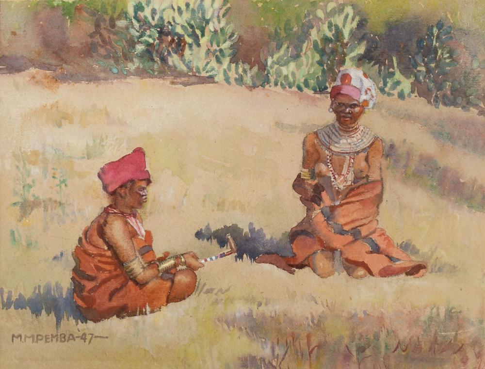 ¤ George PEMBA 1912-2001 - Afrique du Sud Xhosa women, 1947 Aquarelle et pastel sur papier