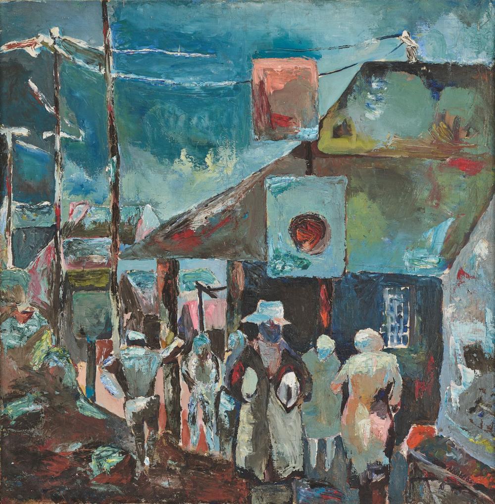 ¤ Nhlanhla XABA 1960-2003 - Afrique du Sud Alexandra Station, Johannesburg, 1986 Huile sur toile marouflée sur panneau