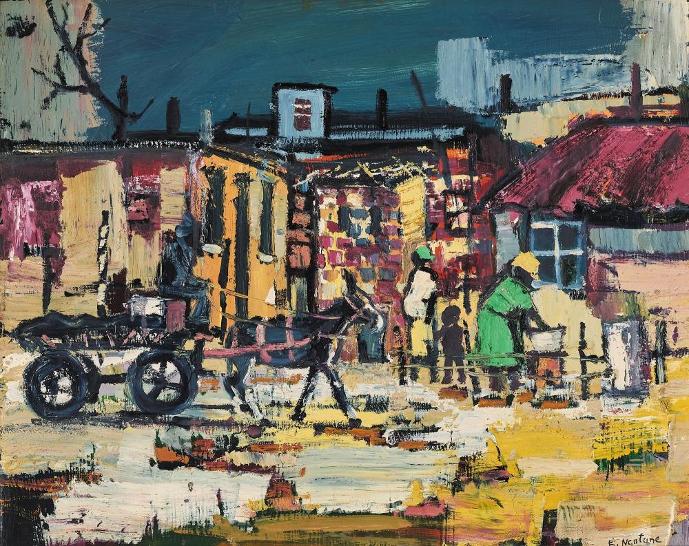 ¤ Ephraim NGATANE 1938-1971 The Donkey Cart Huile sur panneau