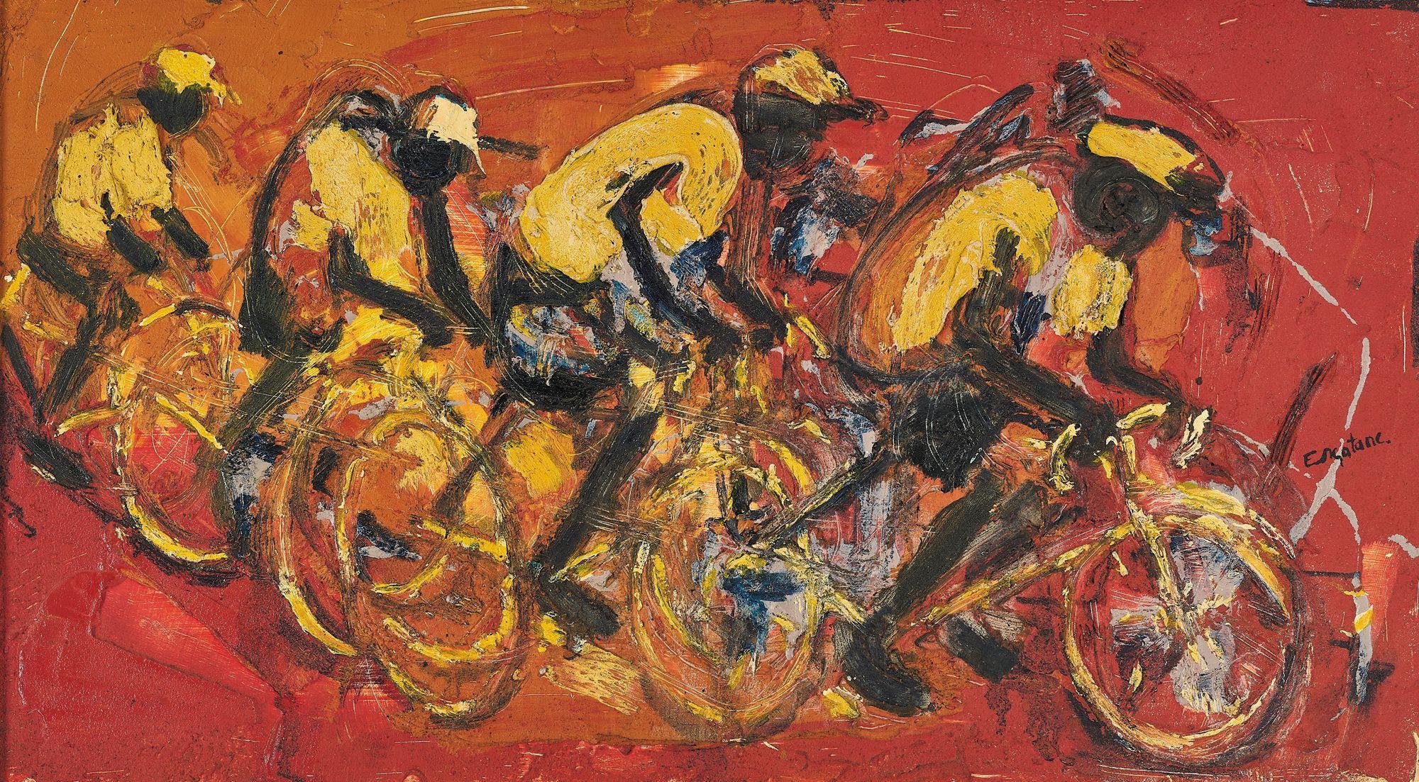 ¤ Ephraim NGATANE 1938-1971 - Afrique du Sud Bicycle race Huile et sable sur panneau