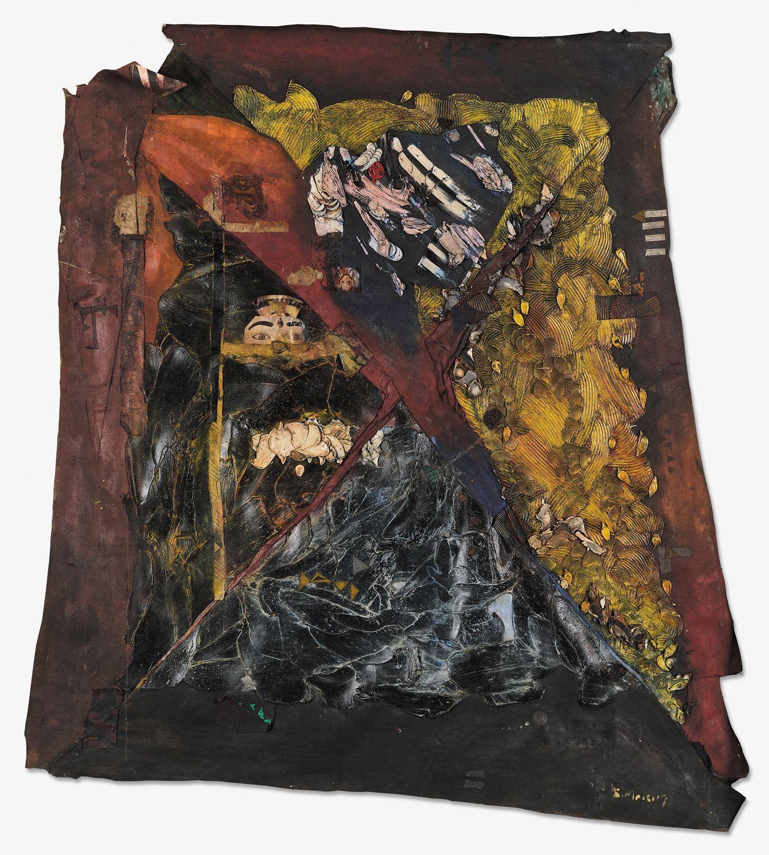 ¤ Samson MNISI né en 1971 - Afrique du Sud Ugogo Omkhulu, 2019 Huile, acrylique, collages de papier et de toile sur toile