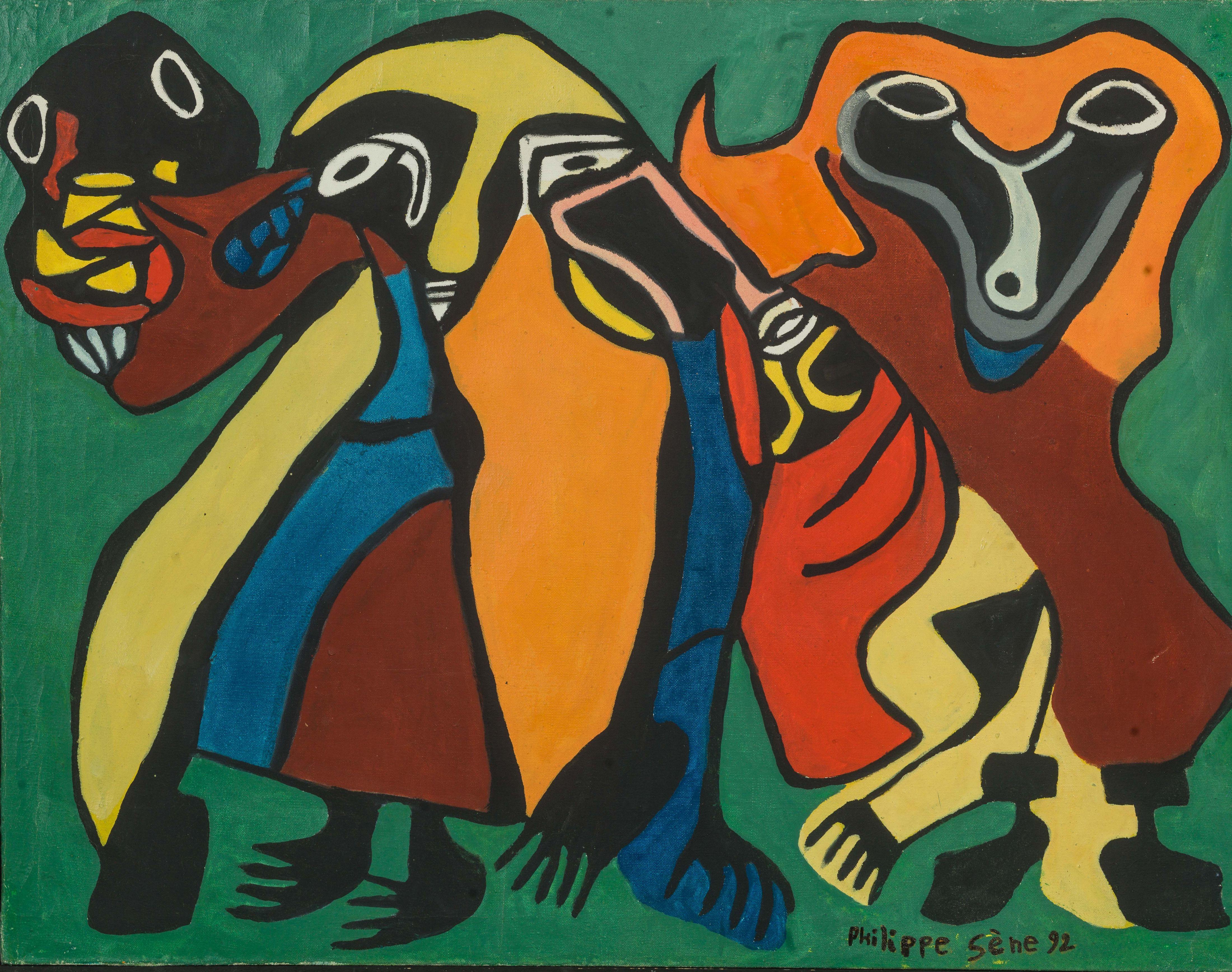 Philippe SÈNE né en 1945 - Sénégal Les gardiens, 1992 Huile sur toile