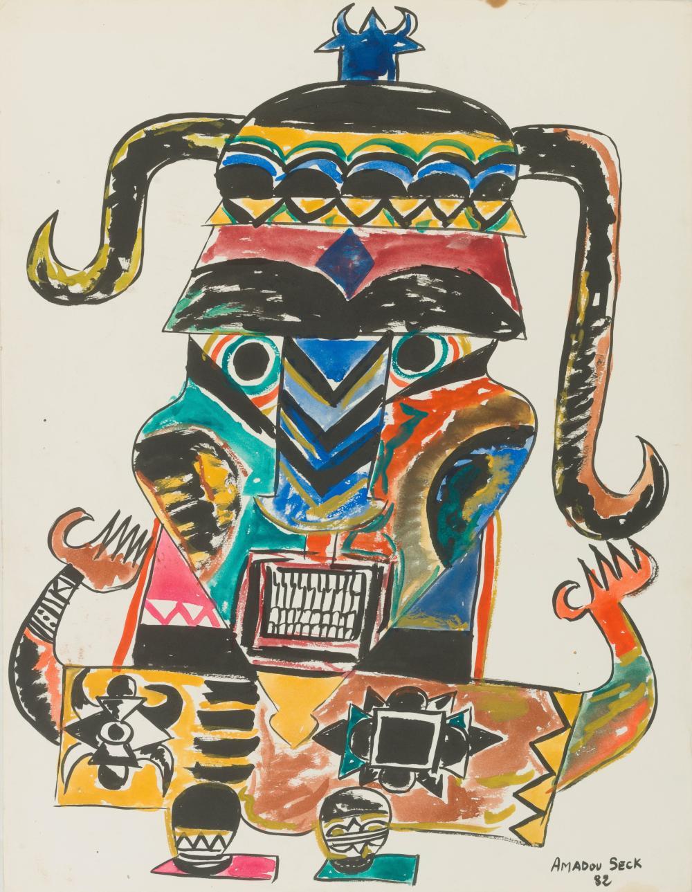 Amadou SECK né en 1950 - Sénégal Notable, 1982 Gouache et encre de Chine sur papier