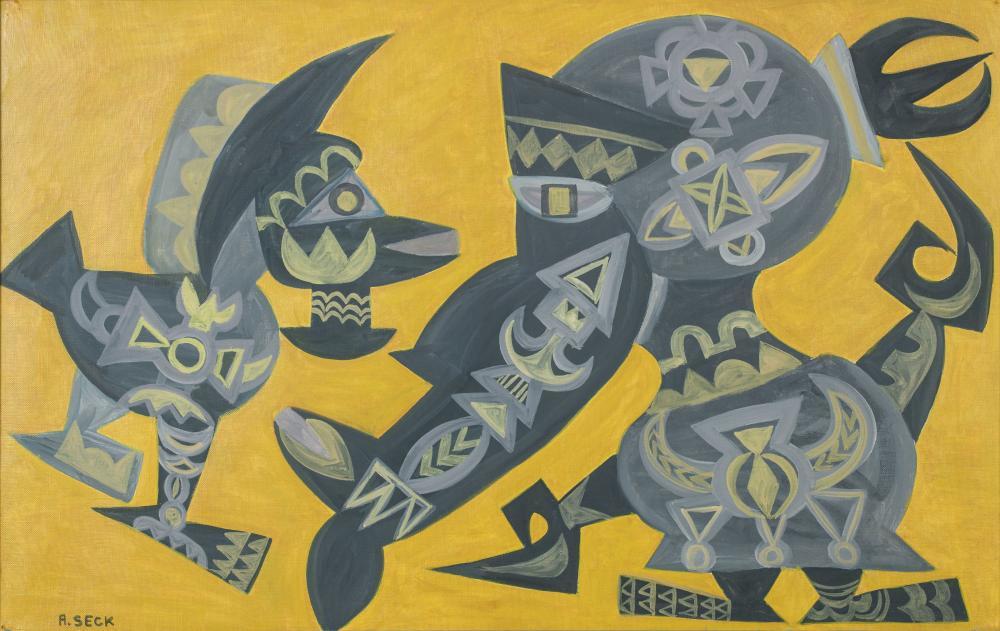 Amadou SECK né en 1950 - Sénégal Dialogue, 1984 Huile sur toile