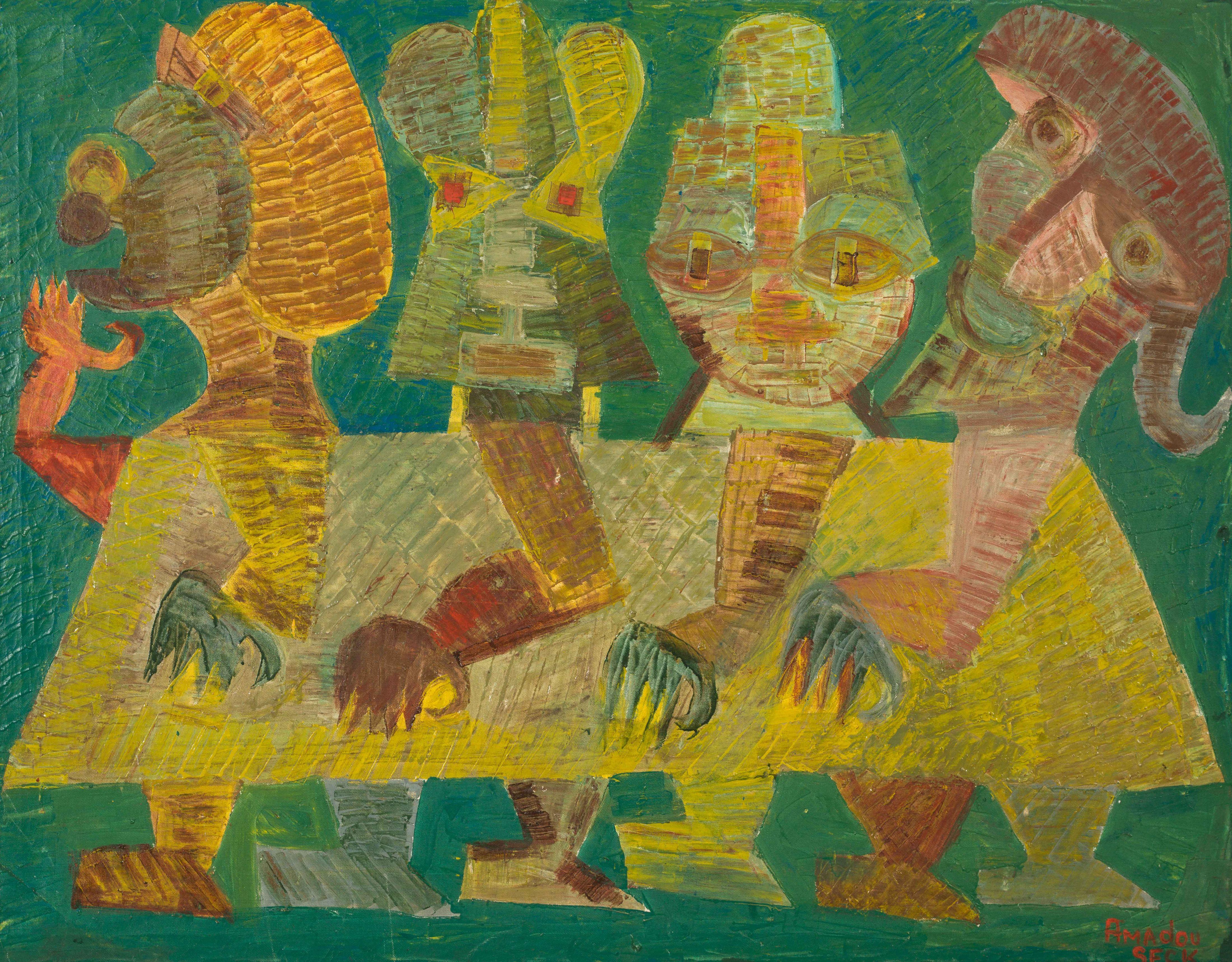 Amadou SECK né en 1950 - Sénégal Caravane verte, circa 1985-1990 Huile sur toile