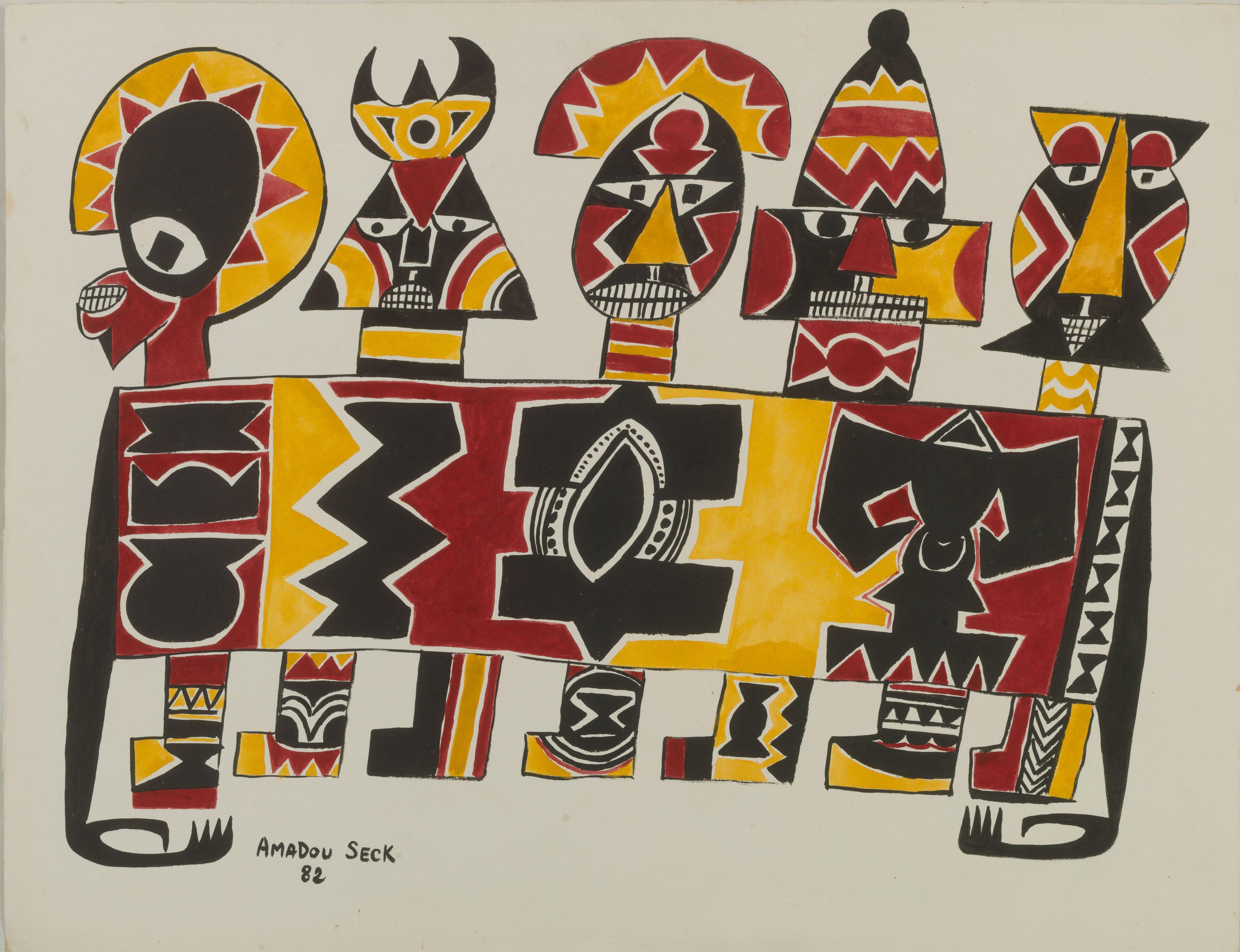 Amadou SECK né en 1950 - Sénégal Caravane, 1982 Gouache et encre sur papier