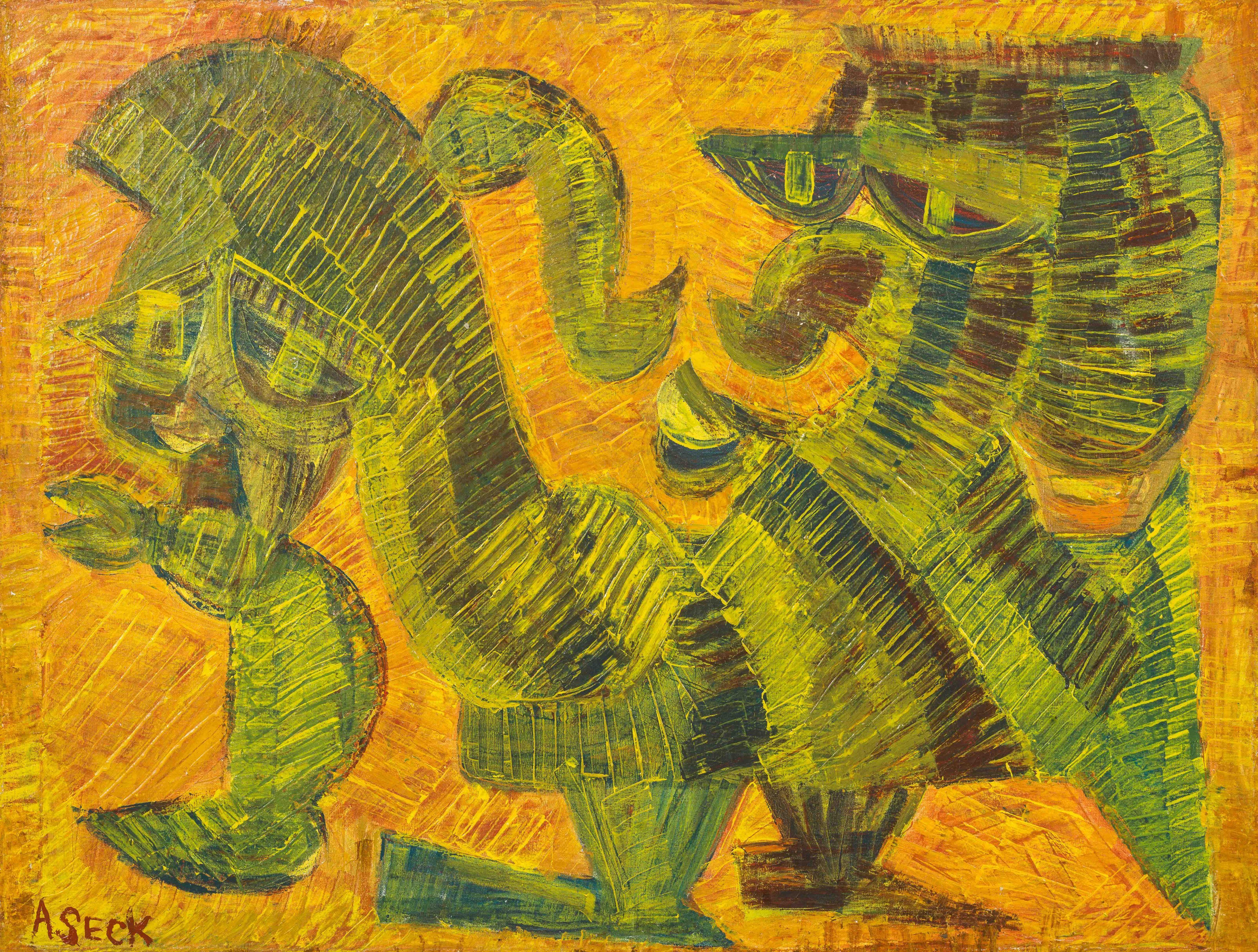 Amadou SECK né en 1950 - Sénégal Cavalier, circa 1985-1990 Huile sur toile