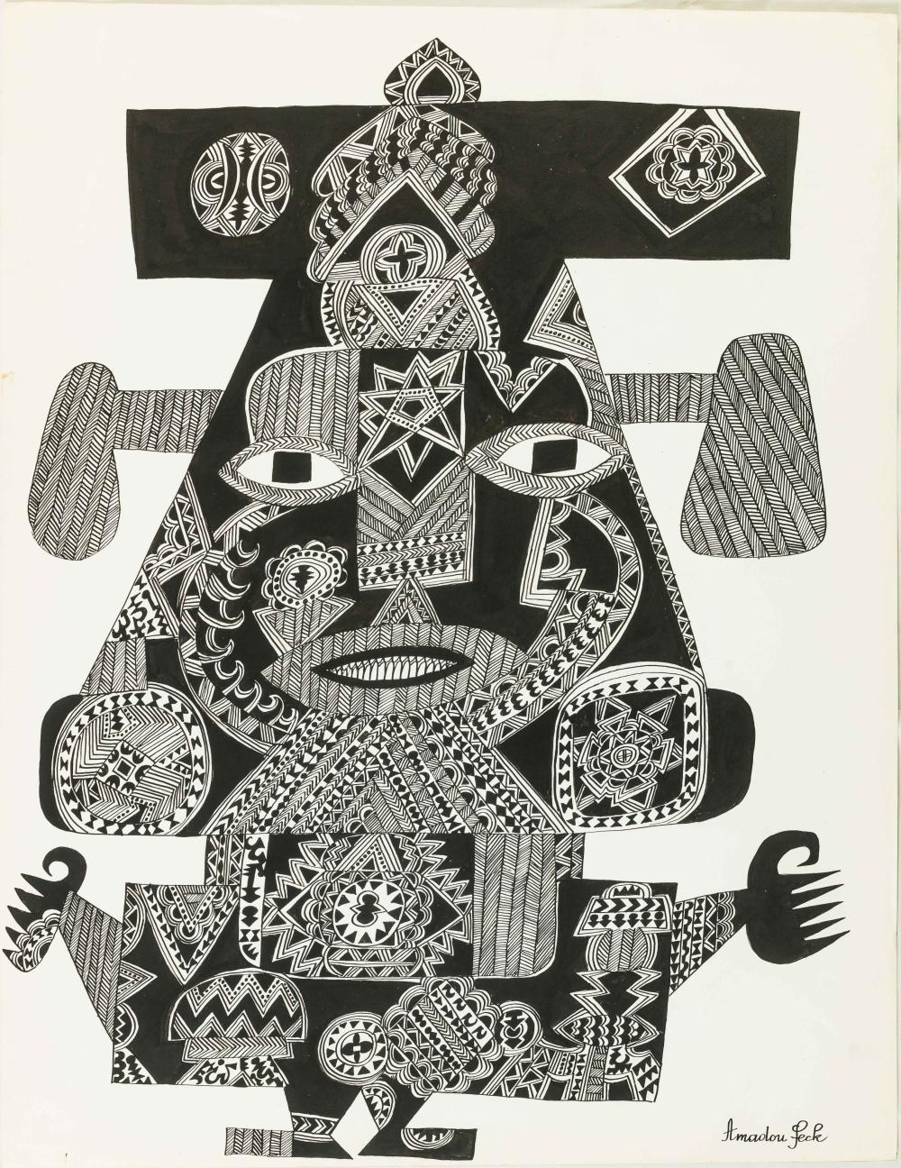 Amadou SECK né en 1950 - Sénégal Dignitaire I, circa 1975-1980 Encre de Chine sur papier