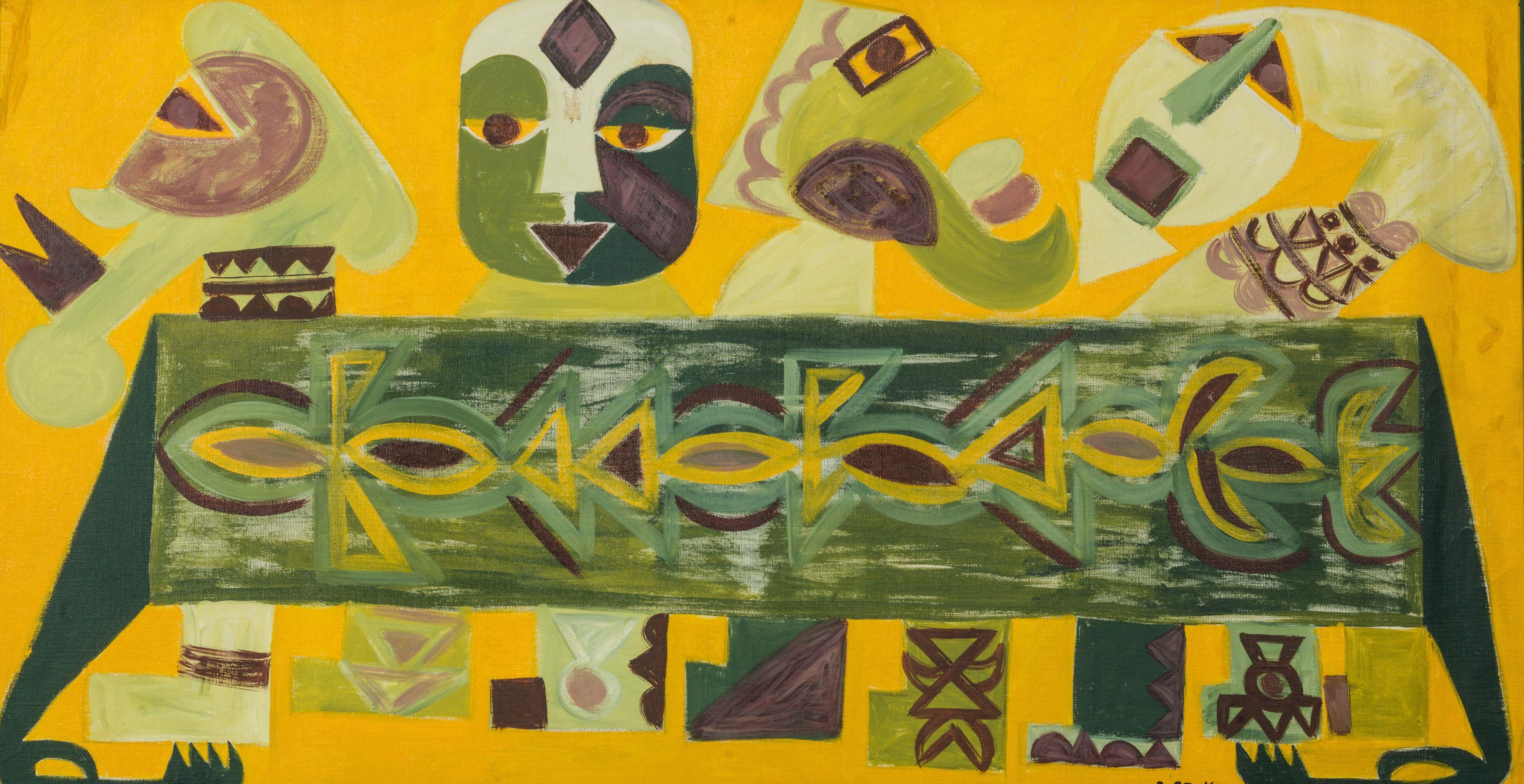 Amadou SECK né en 1950 - Sénégal Caravane jaune, circa 1980-1982 Huile sur toile