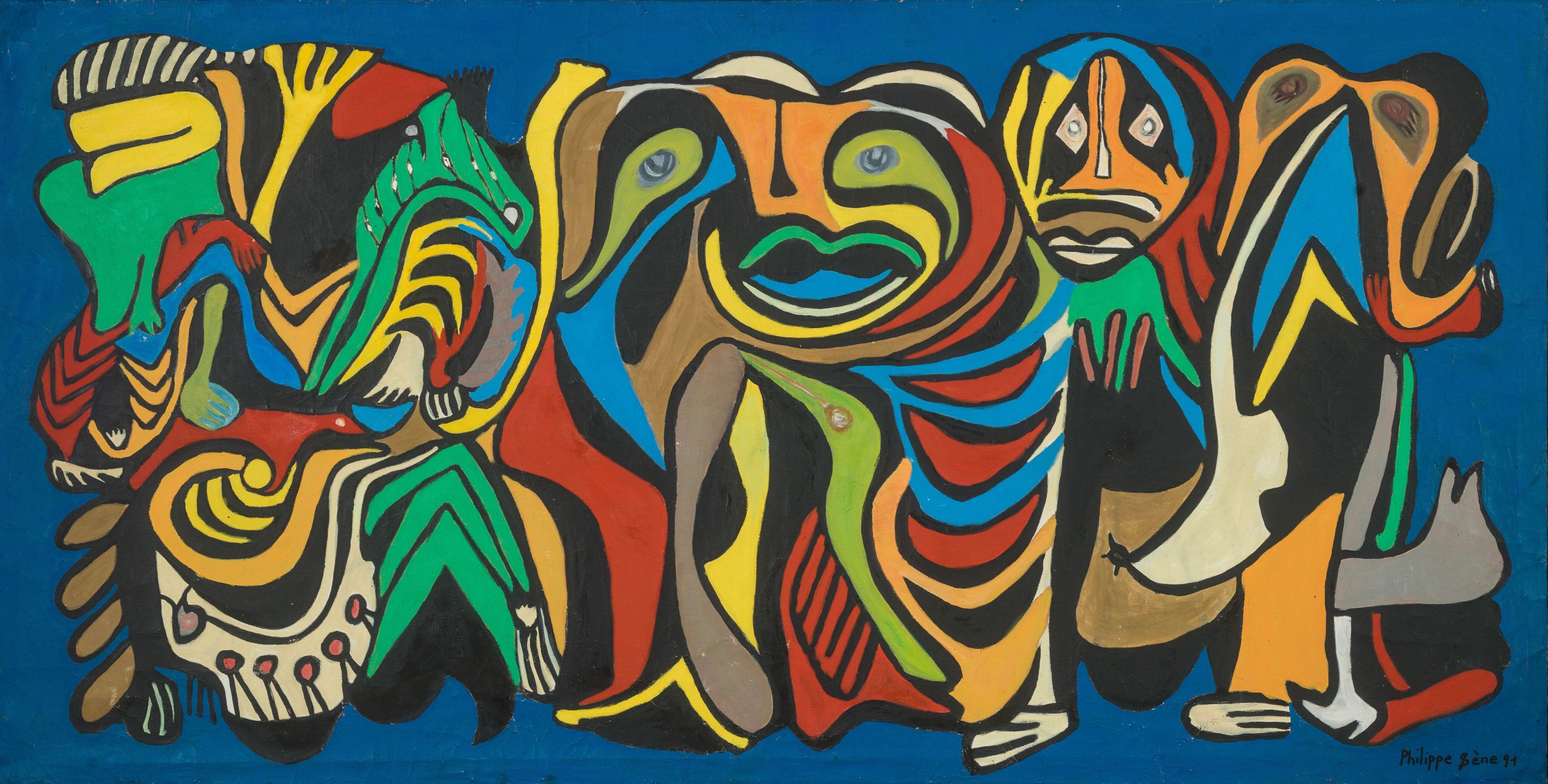 Philippe SÈNE né en 1945 - Sénégal Les 3 sages, 1991 Huile sur toile
