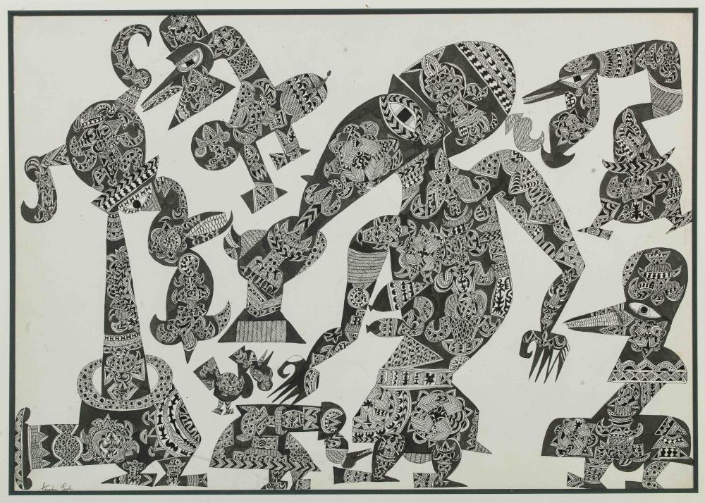 Amadou SECK né en 1950 - Sénégal Personnages merveilleux, circa 1975 - 1980 Encre de Chine sur papier