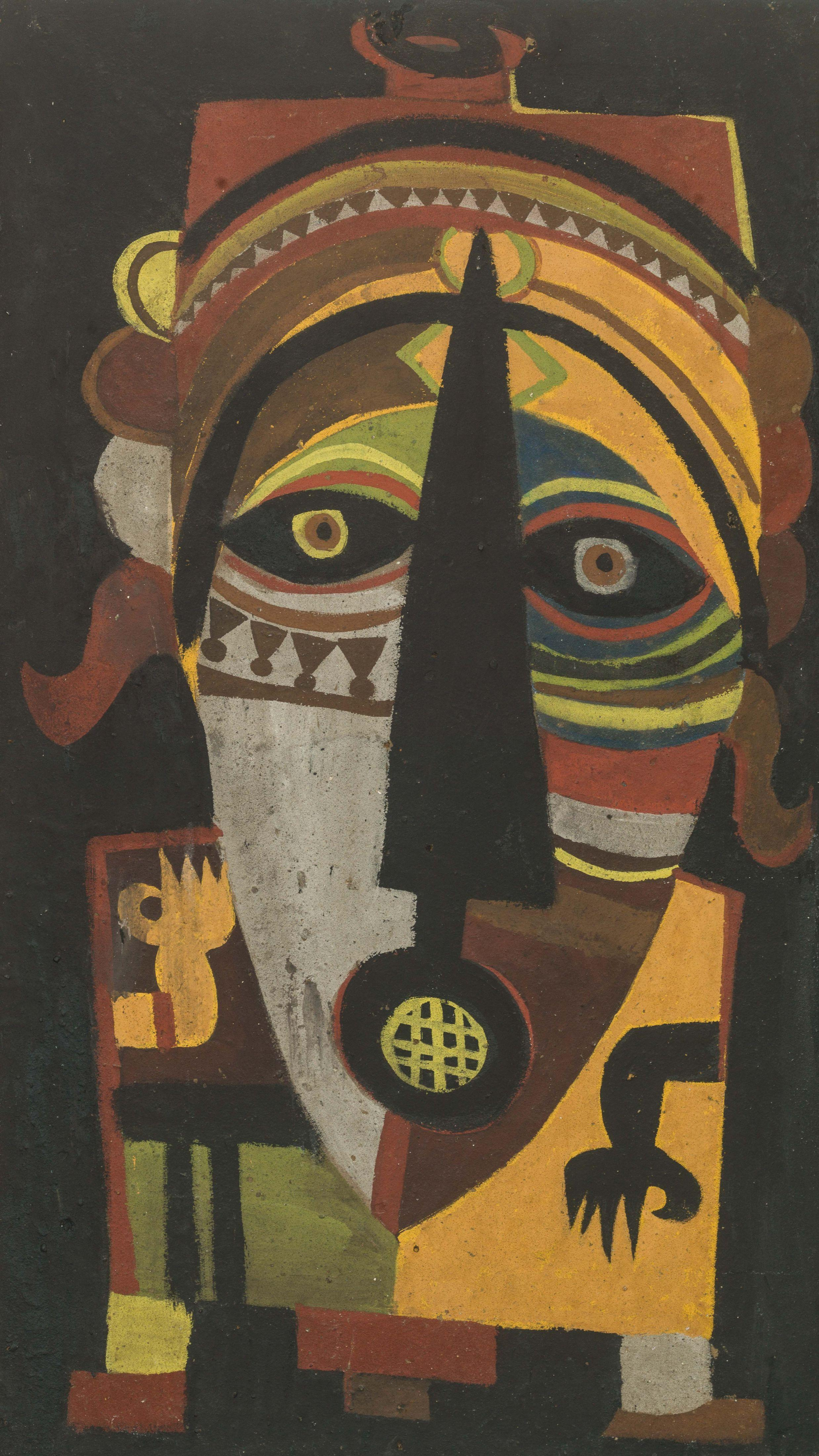 Amadou SECK né en 1950 - Sénégal Dignitaire, 1980 Huile et sable sur panneau