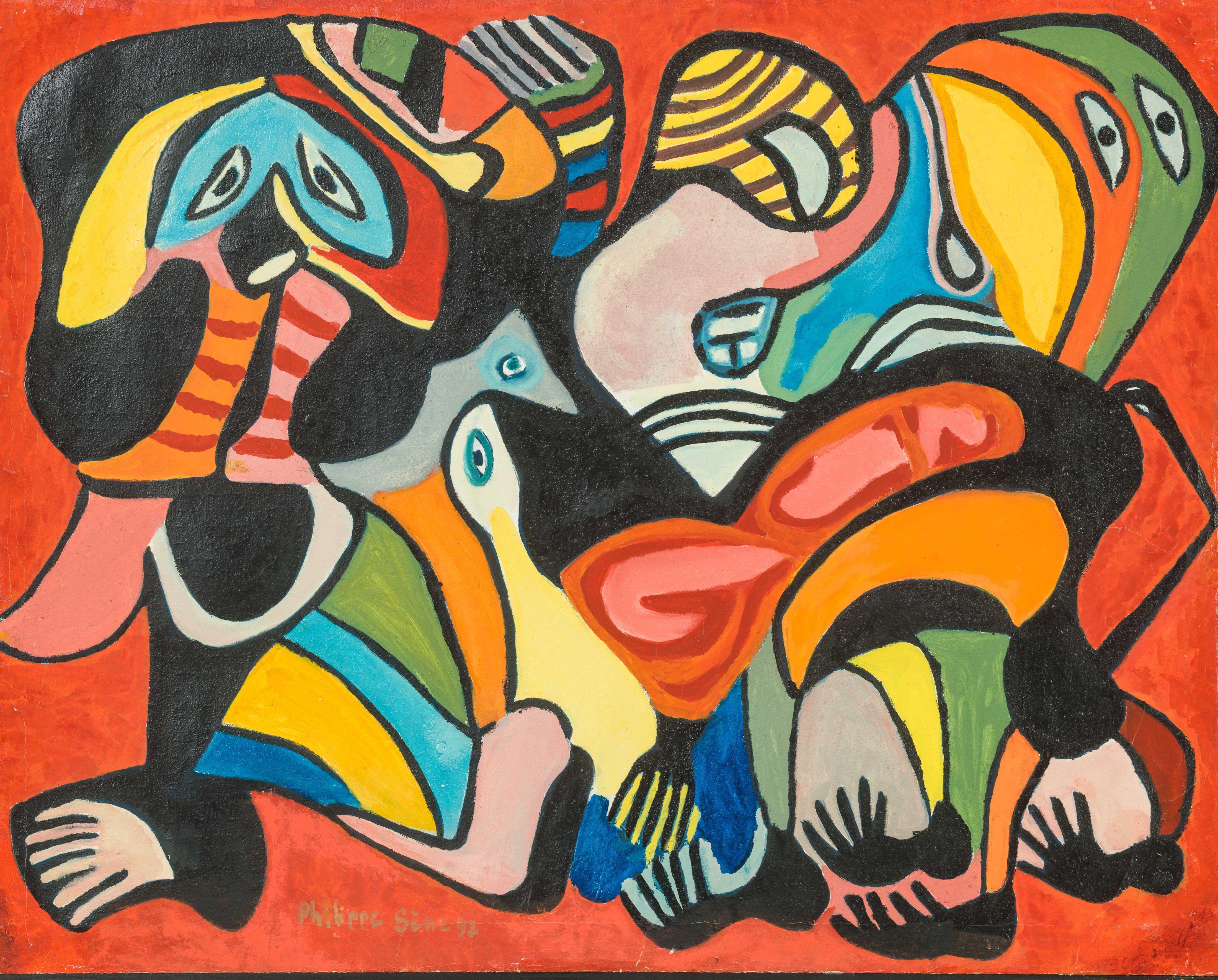 Philippe SÈNE né en 1945 - Sénégal Les jumeaux, 1992 Huile sur toile