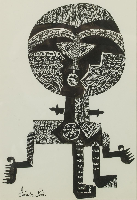 Amadou SECK né en 1950 - Sénégal Poupée ASHANTI, circa 1975-1980 Encre de Chine sur papier