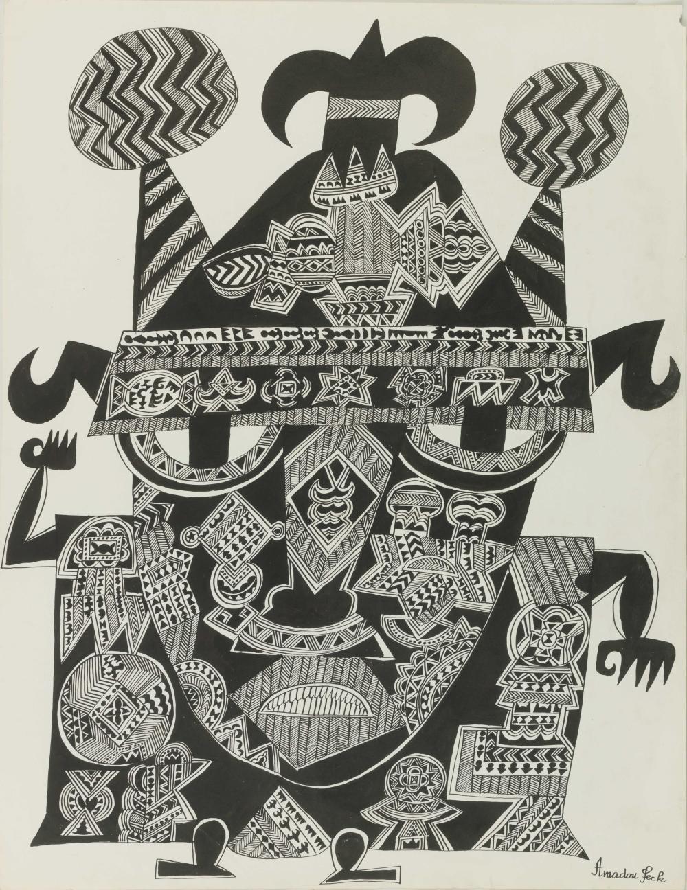 Amadou SECK né en 1950 - Sénégal Dignitaire II, circa 1975-1980 Encre de Chine sur papier