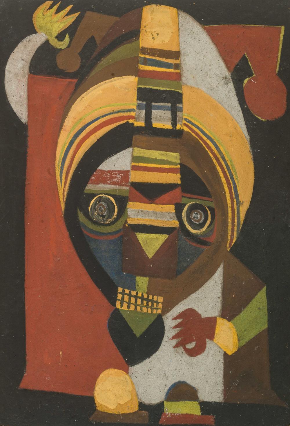 Amadou SECK né en 1950 - Sénégal Marabout, 1980 Huile et sable sur panneau
