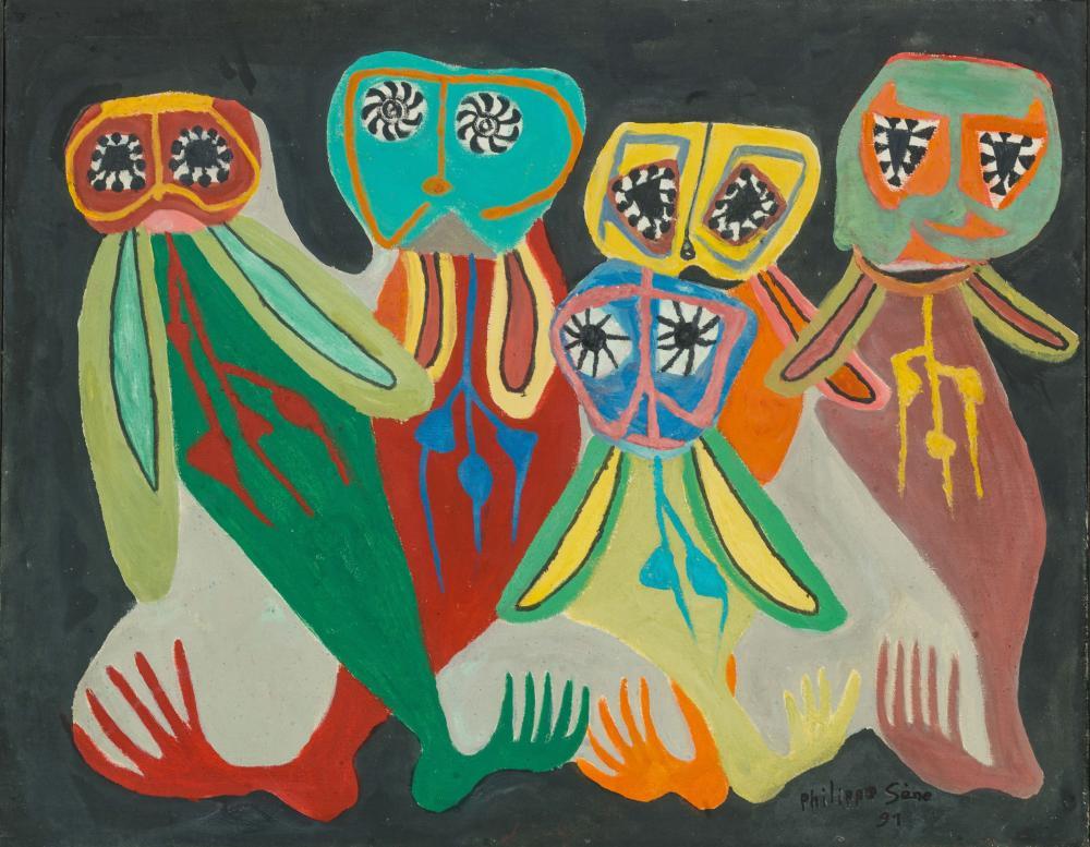 Philippe SÈNE né en 1945 - Sénégal Cinq pangols gris, 1991 Huile sur toile