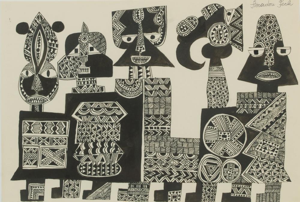 Amadou SECK né en 1950 - Sénégal Caravane, circa 1975-1980 Encre de Chine sur papier