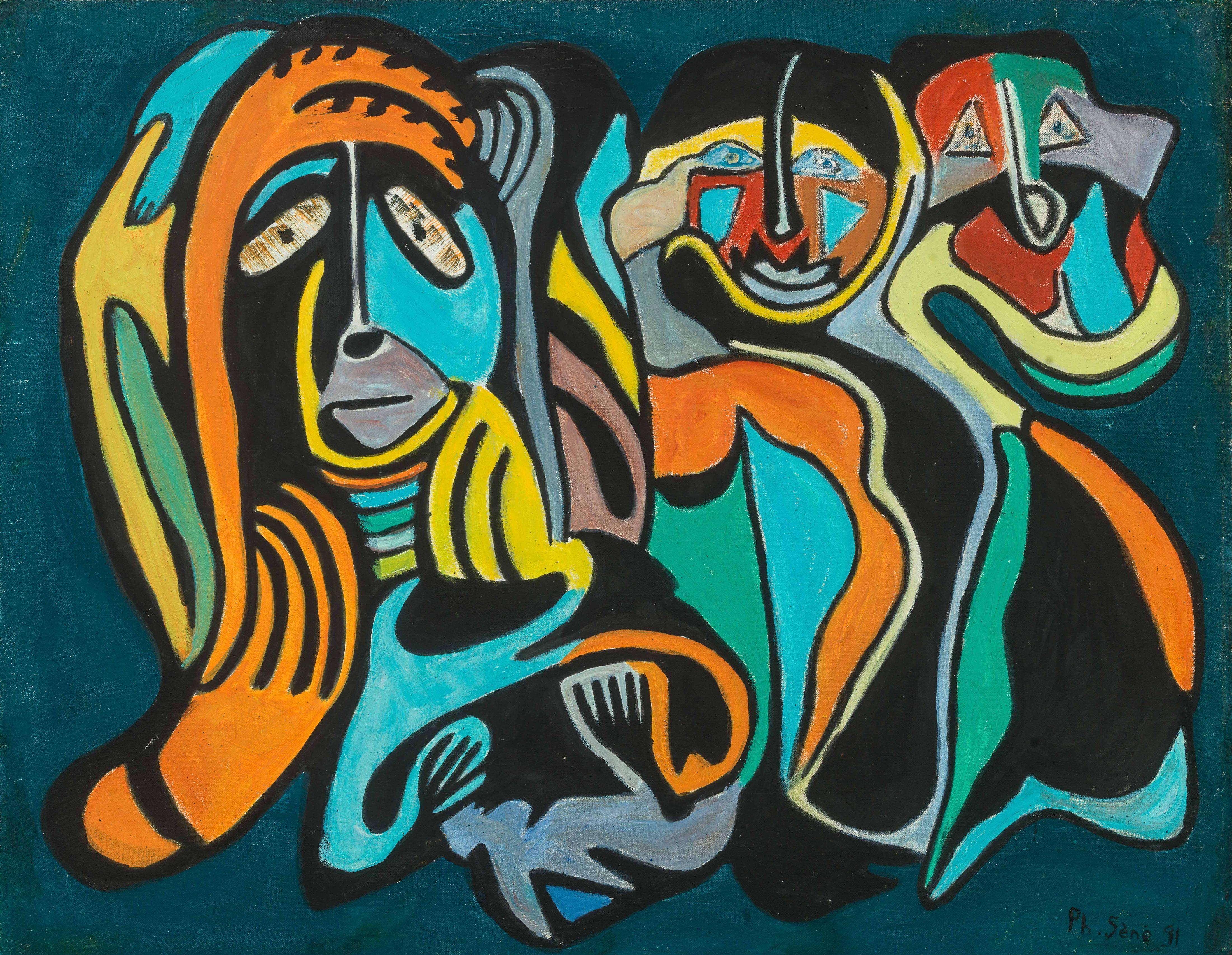 Philippe SÈNE né en 1945 - Sénégal Les 3 gardiens, 1991 Huile sur toile