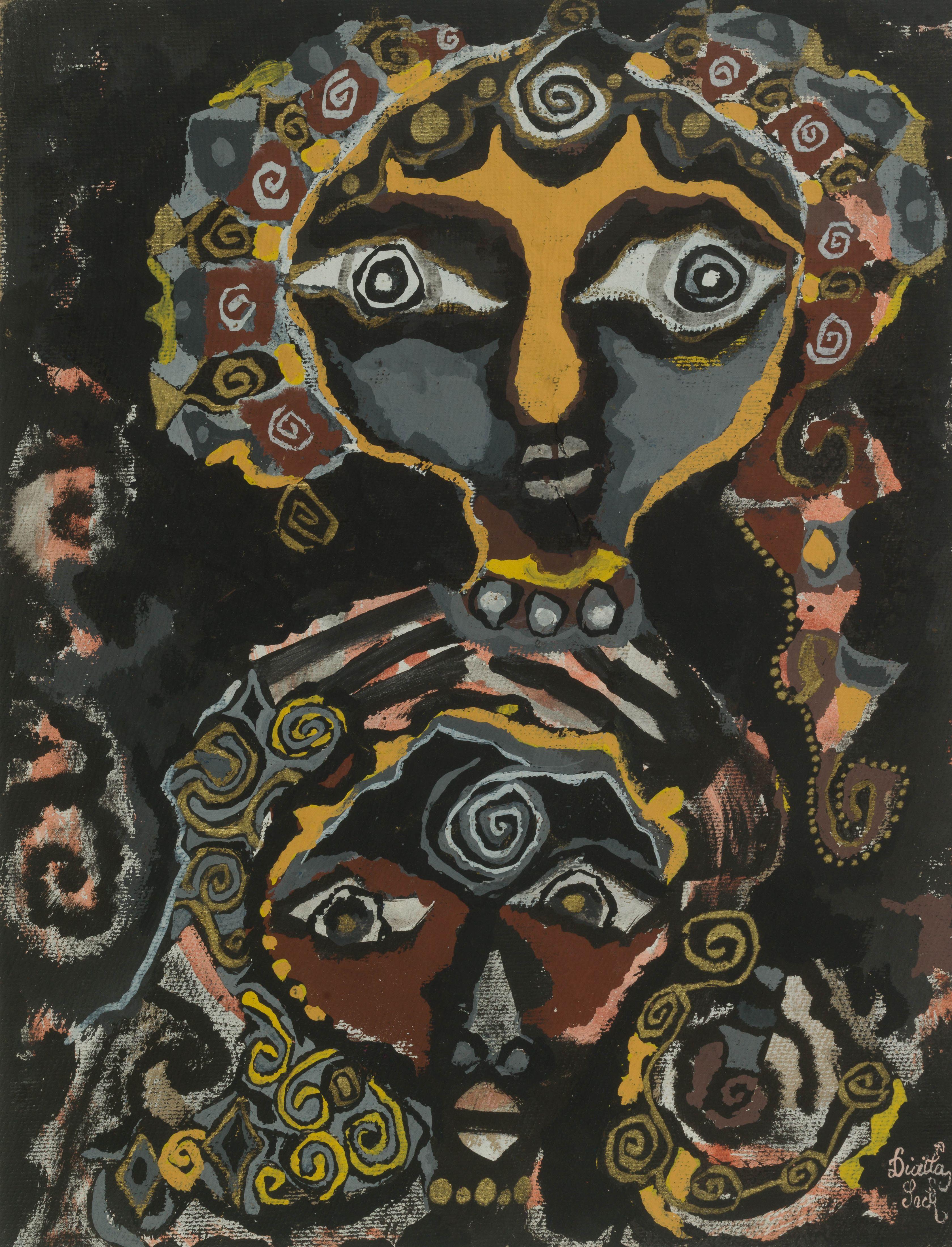 Diatta SECK 1953-2015 - Sénégal Mère et fille, 1983 Gouache sur papier