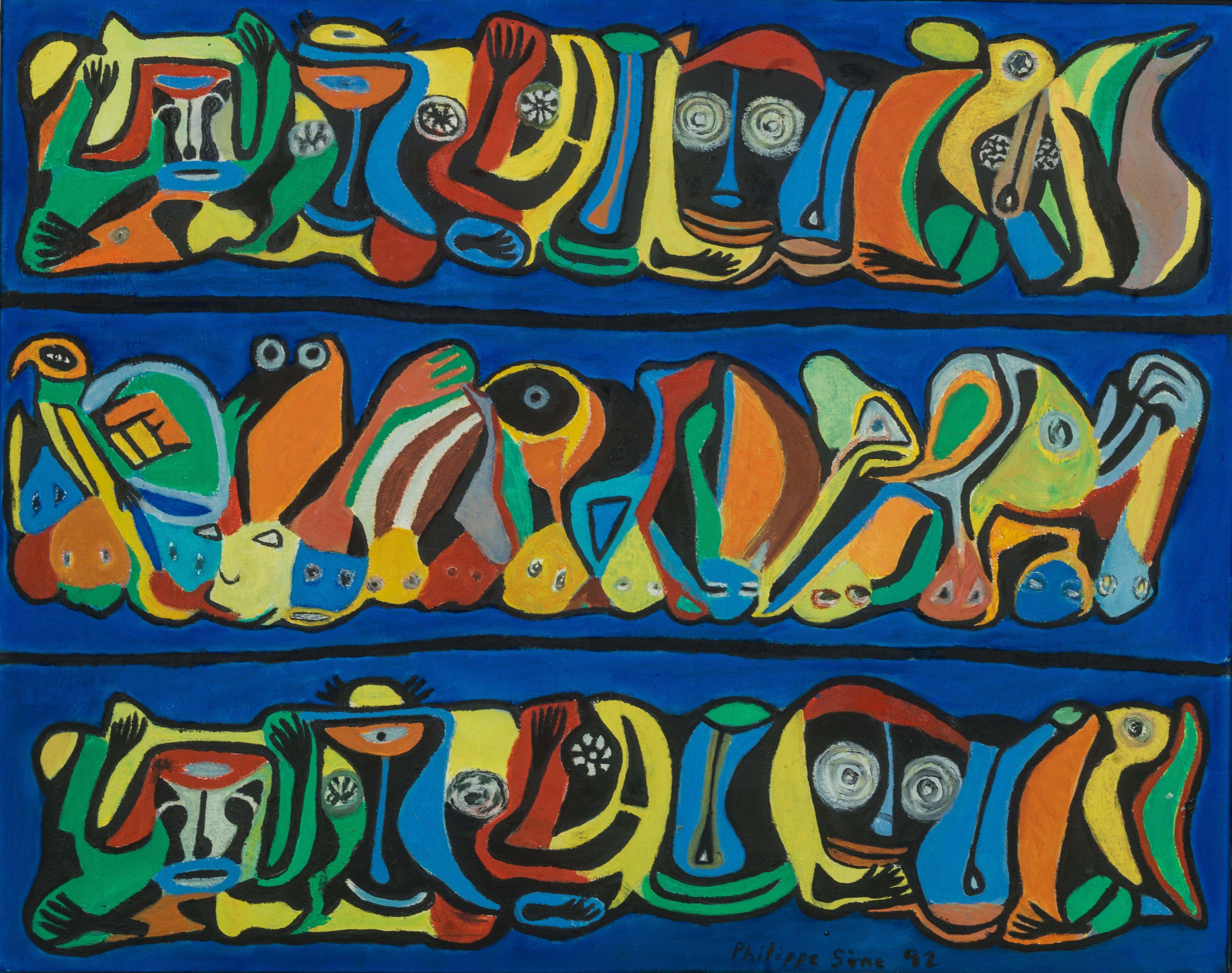 Philippe SÈNE né en 1945 - Sénégal SANGOMAR I, 1992 Huile sur toile