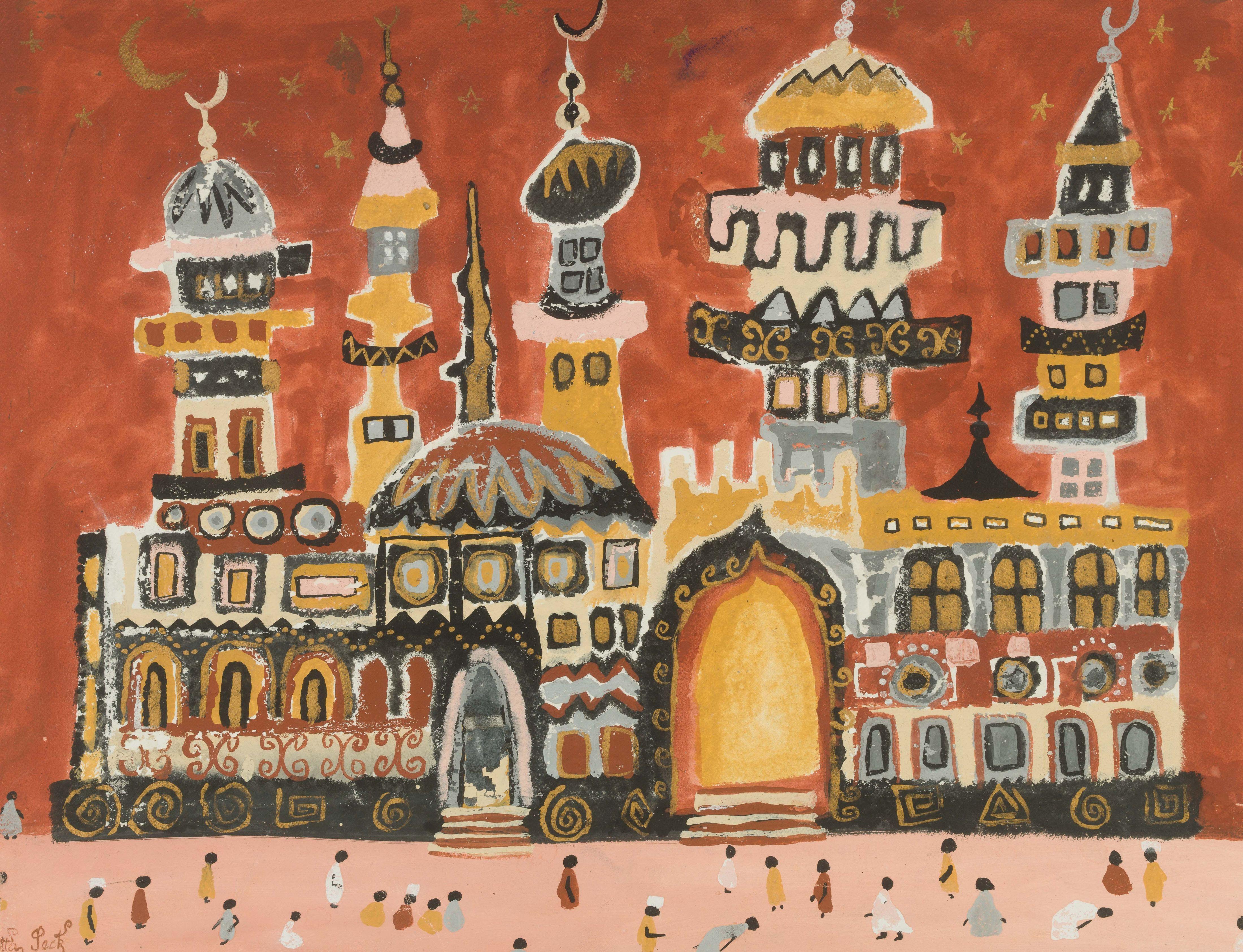 Diatta SECK 1953-2015 - Sénégal Mosquée, 1984 Gouache sur papier