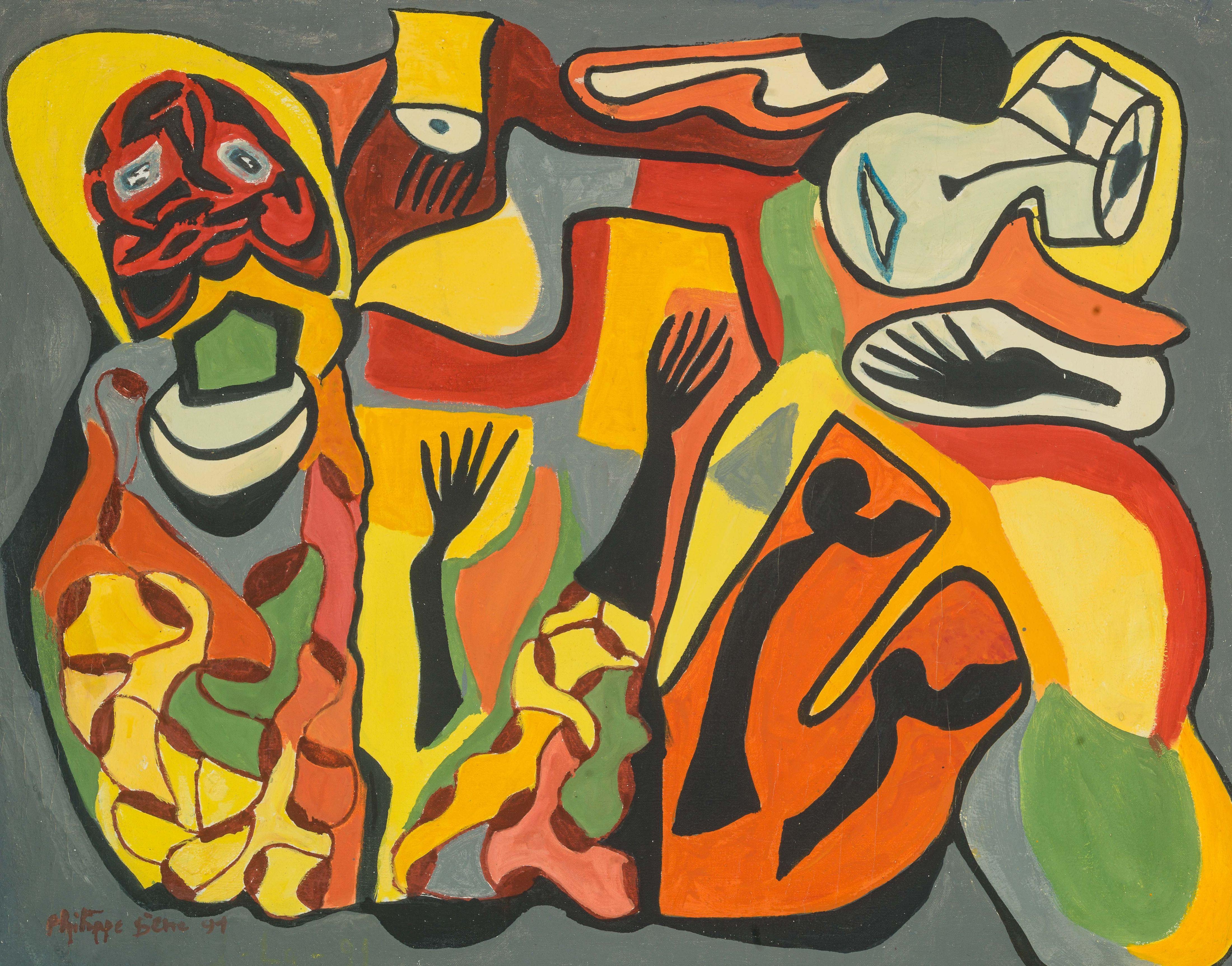 Philippe SÈNE né en 1945 - Sénégal Le connaisseur des rêves, 1991 Huile sur toile
