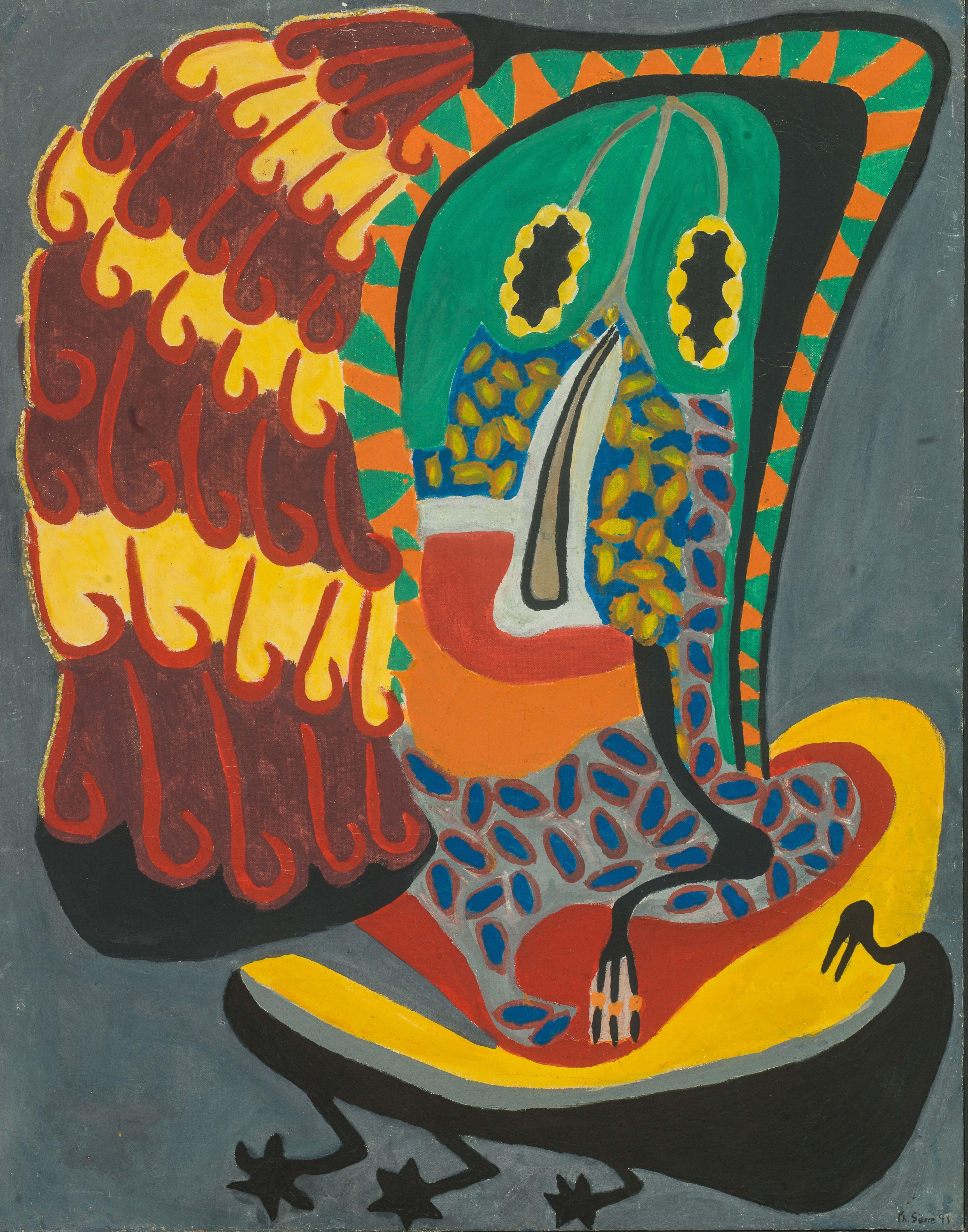 Philippe SÈNE né en 1945 - Sénégal Le pangol de la noblesse, 1991 Huile sur toile