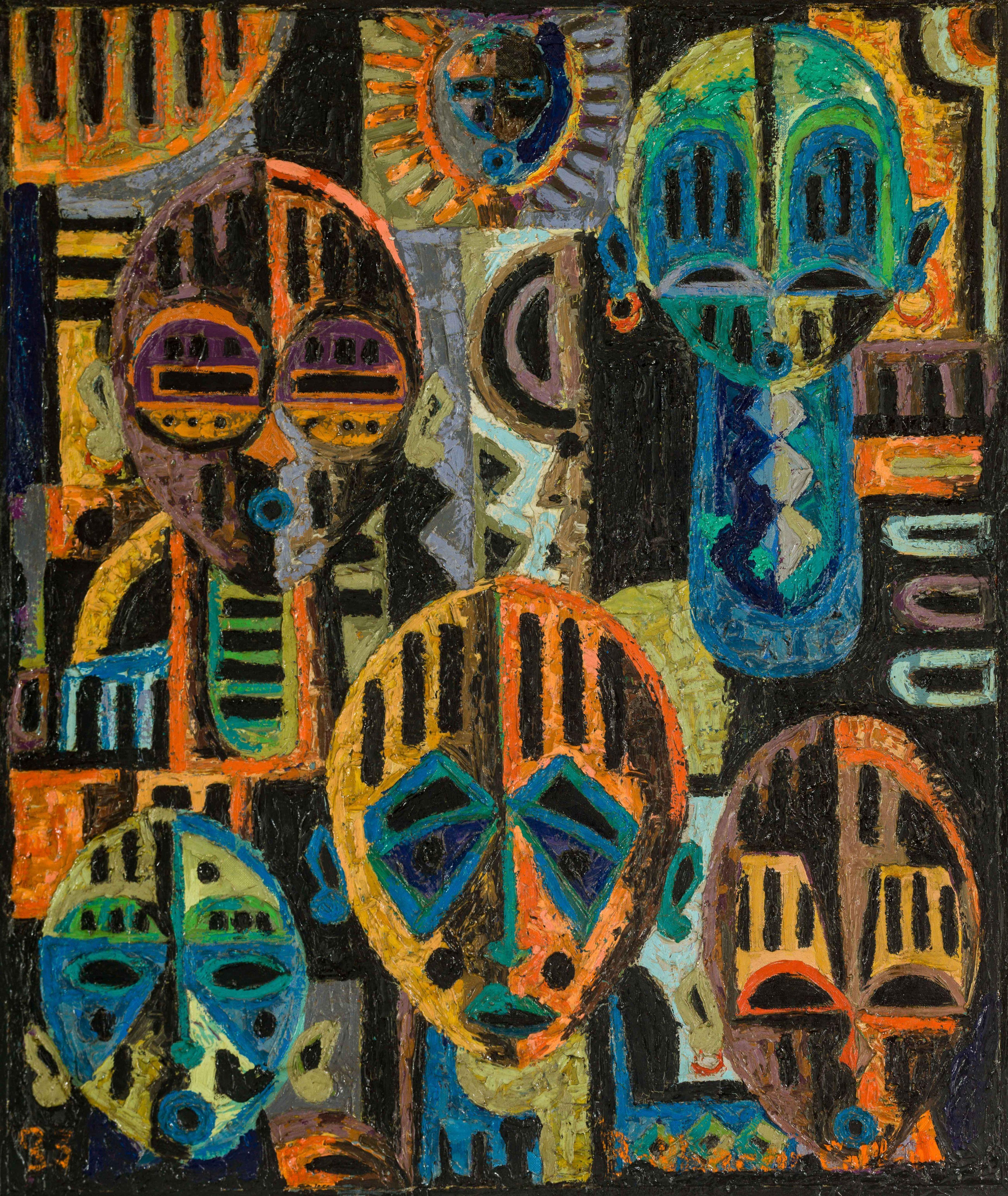 Boubacar COULIBALY 1944-1984 - Sénégal Masques, 1983 Huile sur toile