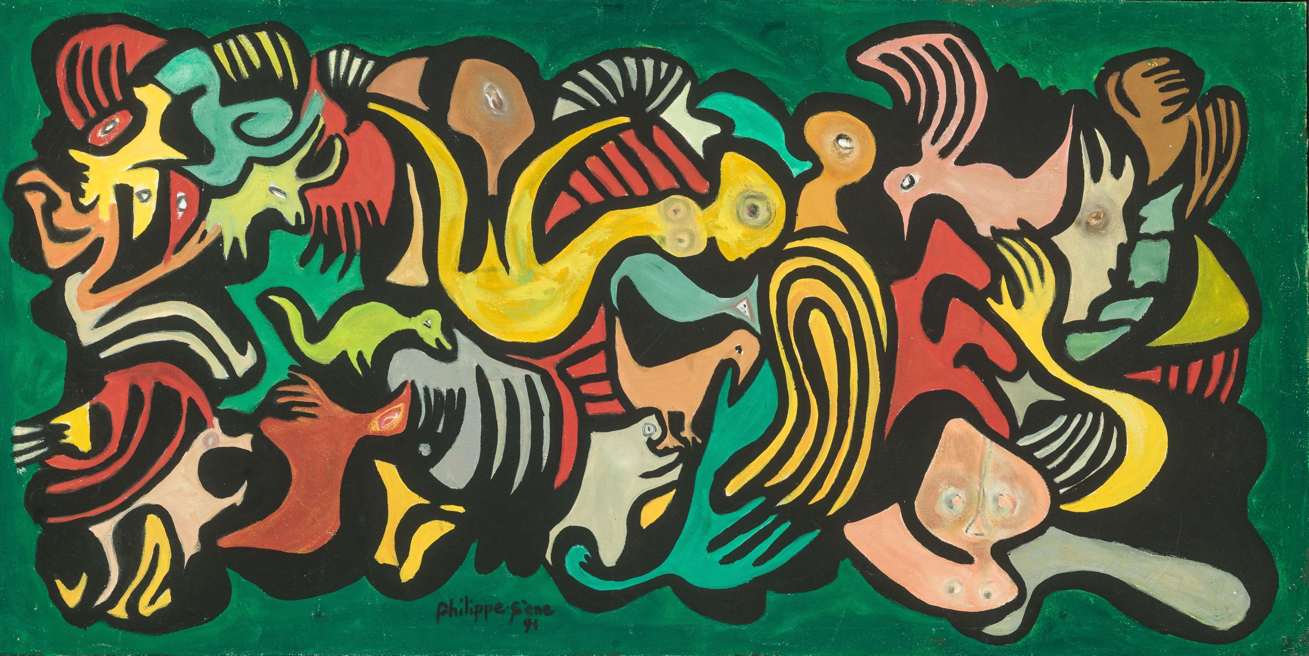 Philippe SÈNE né en 1945 - Sénégal Sangomar vert, 1991 Huile sur toile