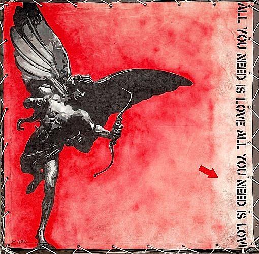 Jef AEROSOL (né en 1957 ) PICADILLY CIRCUS, 2008 Pochoir et peinture aérosol sur bâche