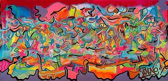 JONONE (John Perello dit) (né en 1963) LE DEPART (MME. PROTIS), 1994 Peinture aérosol et acrylique sur toile
