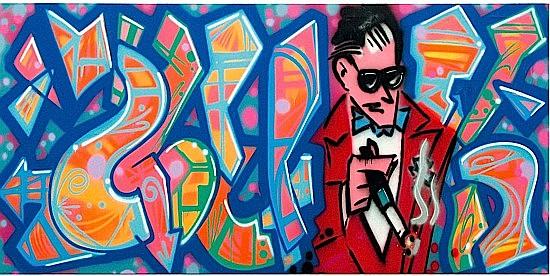 QUIK (Linwood A. Felton dit) (né en 1958 -) SMOCKING QUIK, 1990 Peinture aérosol sur toile