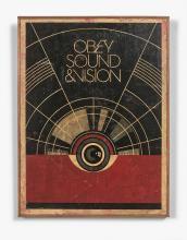 Shepard FAIREY (Alias OBEY GIANT) (Américain - Né en 1970) Sound & Vision - 2012 Sérigraphie et collages (HPM) sur bois