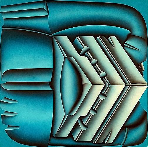 Jacques POLI (1938-2002) T-MAX SUR FOND BLEU, avril 1975 Acrylique sur toile vinylique